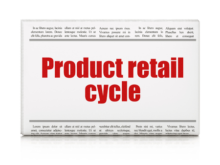 Advertising concept: newspaper headline Product retail Cycle on White background, 3D rendering