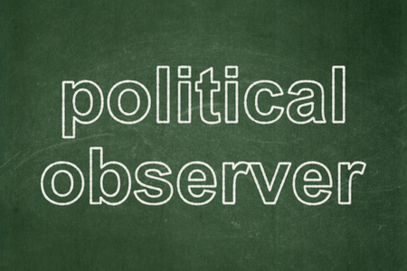 Political concept: text Political Observer on Green chalkboard background