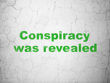 Politics concept: Green Conspiracy Was Revealed on textured concrete wall background Stock Photo