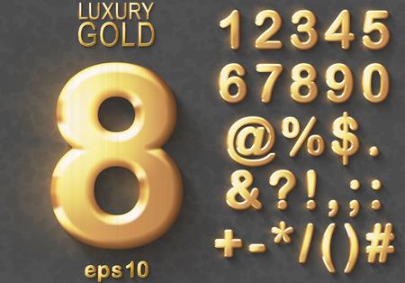 Conjunto de números 3D de luxo dourado brilhante e personagens. Símbolos corajosos do brilho metálico dourado no fundo cinzento. Bom conjunto para tesouros e conceitos de luxo. Sombra transparente, ilustração em vetor EPS 10