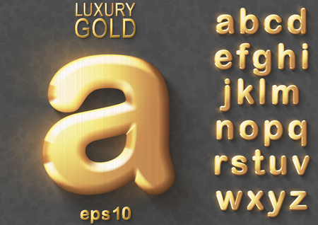 Set of golden luxury 3D lowercase shiny english letters. Golden glitter metallic bold font on gray background. Good typeset for rich and jewel concepts. Transparent shadow, EPS 10 vector illustration.