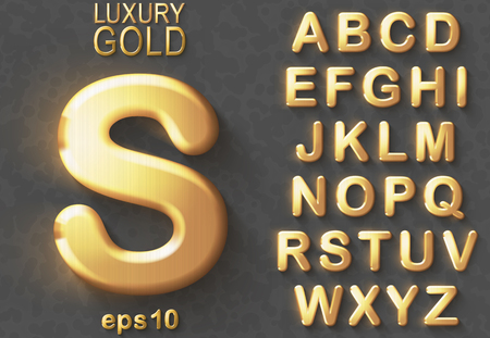 Set of golden luxury 3D uppercase shiny english letters. Golden glitter metallic bold font on gray background. Good typeset for rich and jewel concepts. Transparent shadow, EPS 10 vector illustration.
