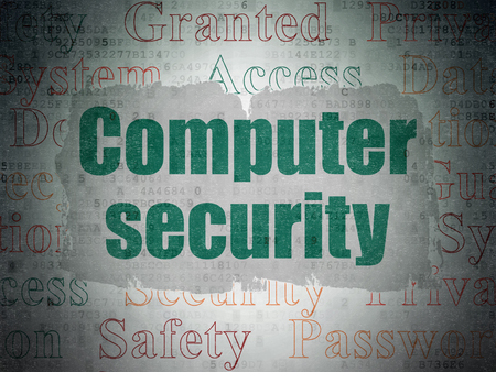 Privacy concept: Painted green text Computer Security on Digital Data Paper background with   Tag Cloud Stock Photo