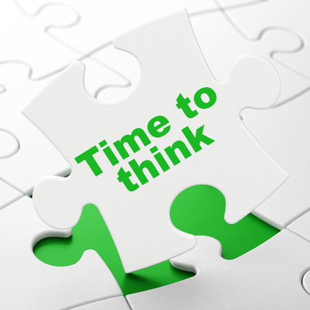 Timeline concept: Time To Think on White puzzle pieces background, 3D rendering