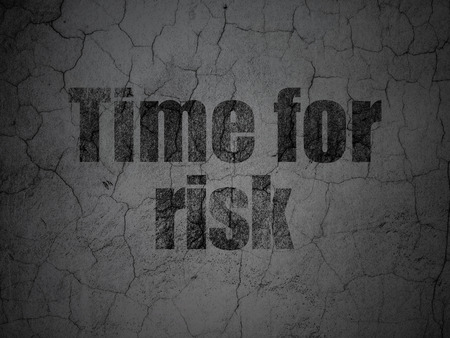 Time concept: Black Time For Risk on grunge textured concrete wall background Stock Photo