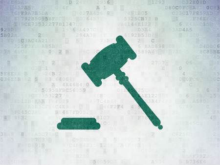 Law concept: Painted green Gavel icon on Digital Data Paper background Stock Photo