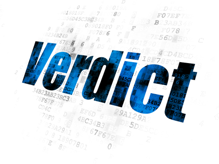 Law concept: Pixelated blue text Verdict on Digital background