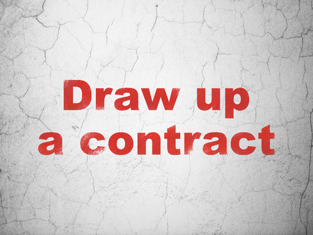 Law concept: Red Draw up A contract on textured concrete wall background Stock Photo