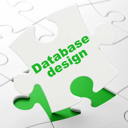 Programming concept: Database Design on White puzzle pieces background, 3D rendering