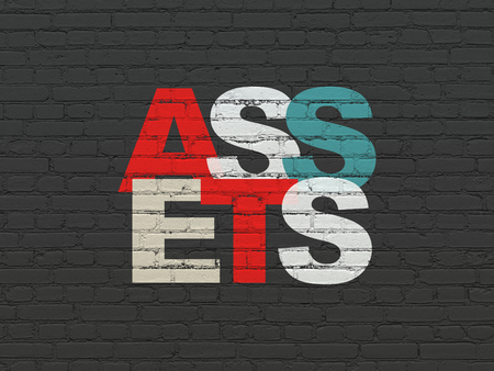 Money concept: Painted multicolor text Assets on Black Brick wall background