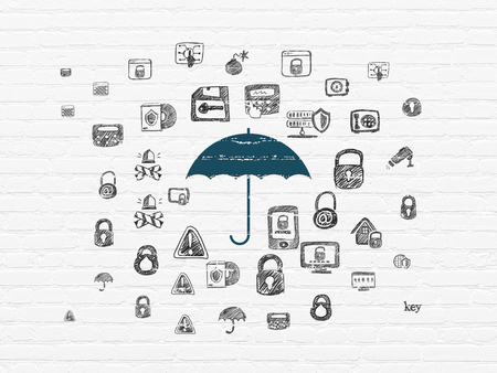 Security concept: Painted blue Umbrella icon on White Brick wall background with  Hand Drawn Security Icons