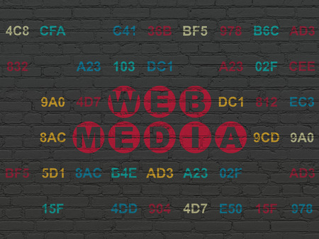 Web development concept: Painted red text Web Media on Black Brick wall background with Hexadecimal Code