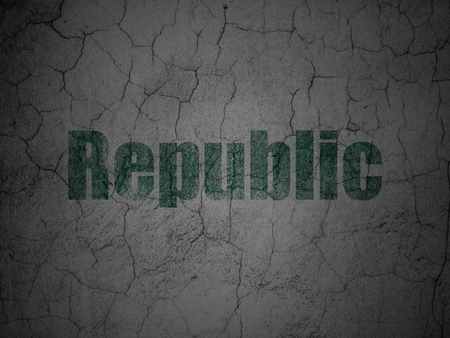Politics concept: Green Republic on grunge textured concrete wall background
