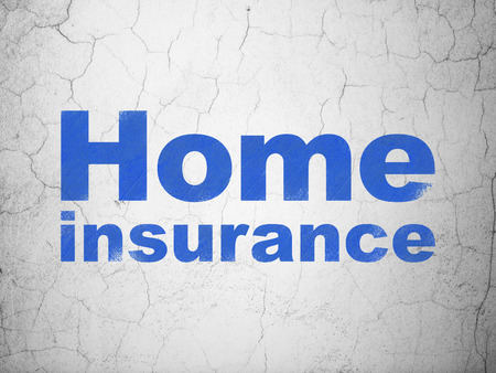 Insurance concept: Blue Home Insurance on textured concrete wall background