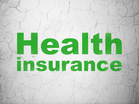 Insurance concept: Green Health Insurance on textured concrete wall background