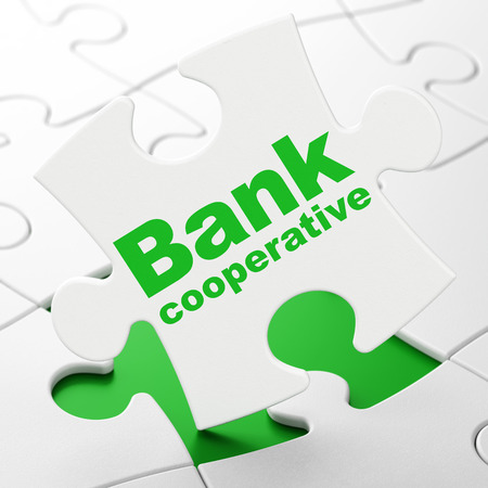 Currency concept: Bank Cooperative on White puzzle pieces background, 3D rendering Stock Photo