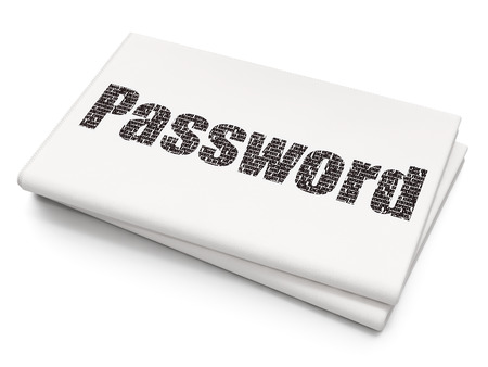 Protection concept: Pixelated black text Password on Blank Newspaper background, 3D rendering Stock Photo
