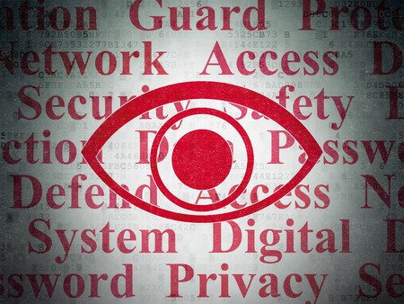 Security concept: Painted red Eye icon on Digital Data Paper background with  Tag Cloud Archivio Fotografico