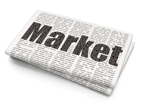 Marketing concept: Pixelated black text Market on Newspaper background, 3D rendering