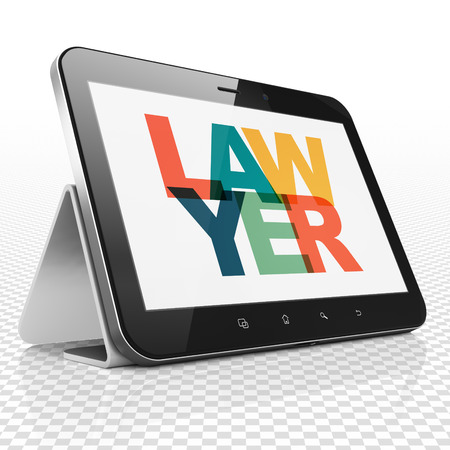 Law concept: Tablet Computer with Painted multicolor text Lawyer on display, 3D rendering