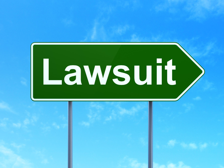 Law concept: Lawsuit on green road highway sign, clear blue sky background, 3D rendering