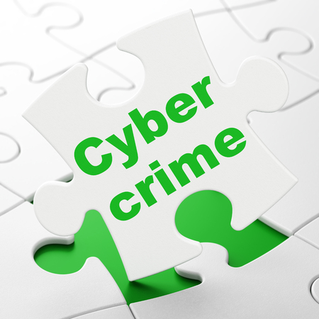 Security concept: Cyber Crime on White puzzle pieces background, 3D rendering