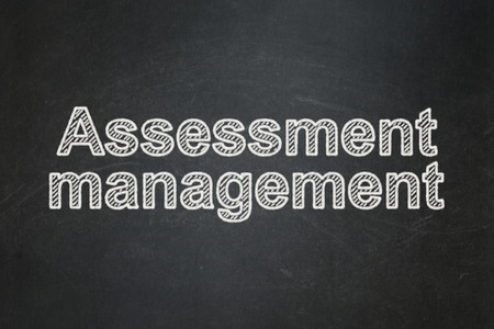 Finance concept: text Assessment Management on Black chalkboard background