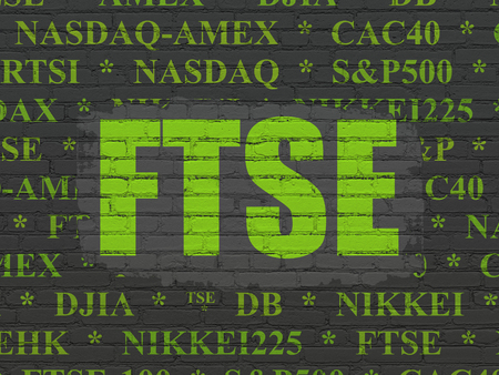 Stock market indexes concept: Painted green text FTSE on Black Brick wall background with  Tag Cloud