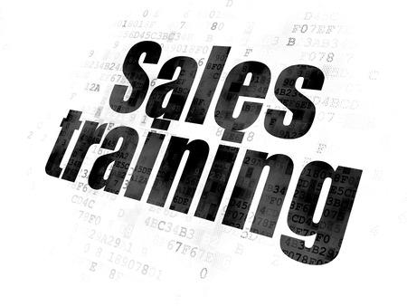 Marketing concept: Pixelated black text Sales Training on Digital background Banco de Imagens