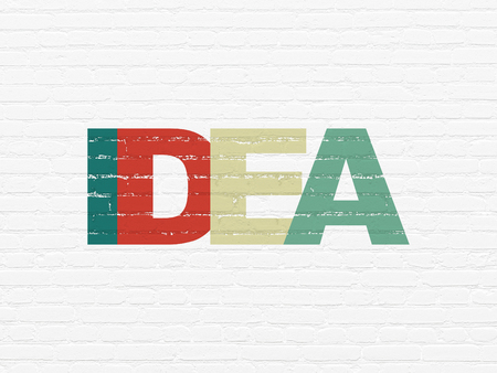 Advertising concept: Painted multicolor text Idea on White Brick wall background