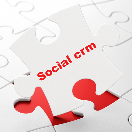 Advertising concept: Social CRM on White puzzle pieces background, 3D rendering Stock Photo