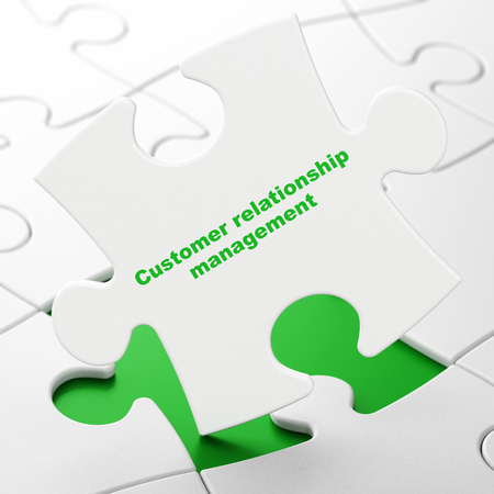 Advertising concept: Customer Relationship Management on White puzzle pieces background, 3D rendering
