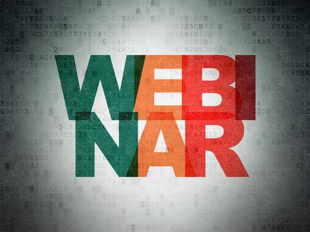 Education concept: Painted multicolor text Webinar on Digital Data Paper background Banco de Imagens