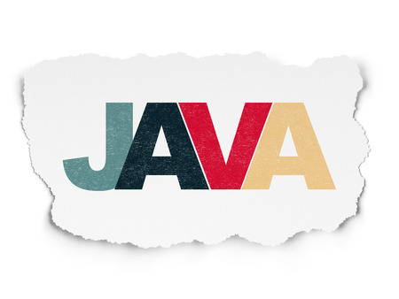 Software concept: Painted multicolor text Java on Torn Paper background Stock Photo