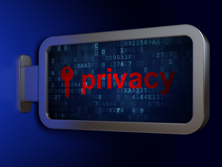 Security concept: Privacy and Key on advertising billboard background, 3D rendering