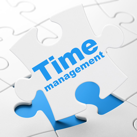 Timeline concept: Time Management on White puzzle pieces background, 3D rendering