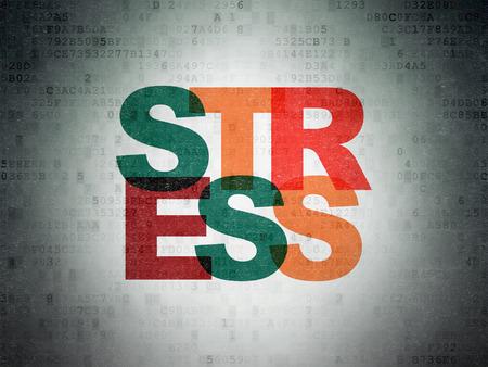 Medicine concept: Painted multicolor text Stress on Digital Data Paper background Banco de Imagens