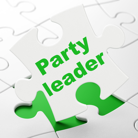 Politics concept: Party Leader on White puzzle pieces background, 3D rendering