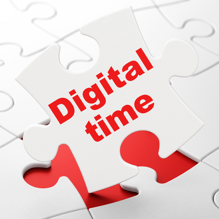 Timeline concept: Digital Time on White puzzle pieces background, 3D rendering Stock Photo