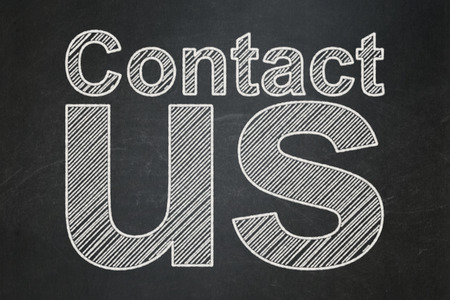 Marketing concept: text Contact Us on Black chalkboard background