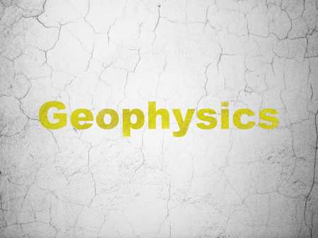 Science concept: Yellow Geophysics on textured concrete wall background