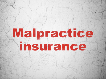 Insurance concept: Red Malpractice Insurance on textured concrete wall background Stock Photo