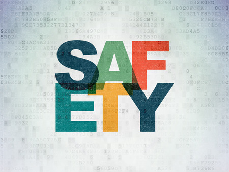 Safety concept: Painted multicolor text Safety on Digital Data Paper background Banco de Imagens