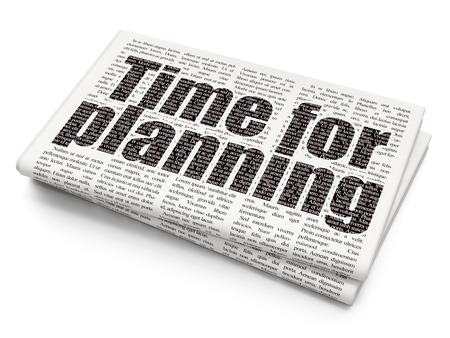 Timeline concept: Pixelated black text Time for Planning on Newspaper background, 3D rendering Stock Photo