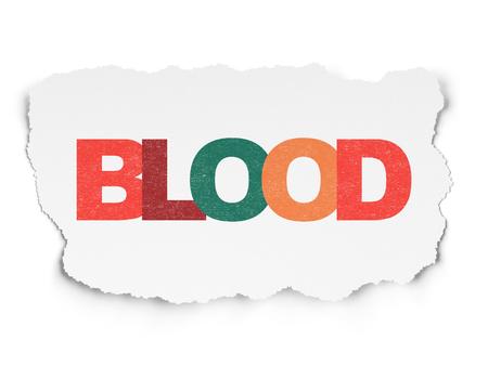 Medicine concept: Painted multicolor text Blood on Torn Paper background Banco de Imagens