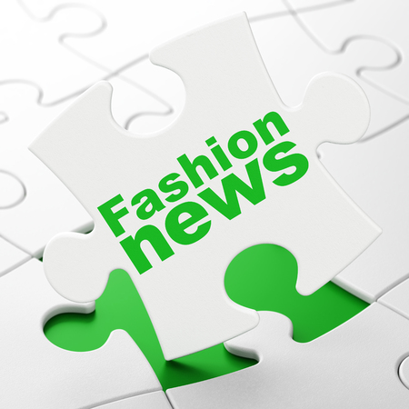 News concept: Fashion News on White puzzle pieces background, 3D rendering Stock Photo