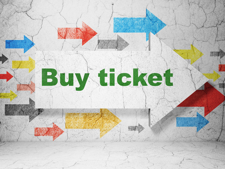 Vacation concept:  arrow with Buy Ticket on grunge textured concrete wall background, 3D rendering Standard-Bild