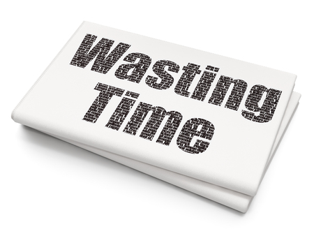 Time concept: Pixelated black text Wasting Time on Blank Newspaper background, 3D rendering