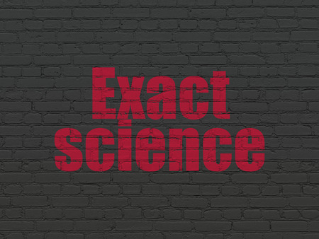 Science concept: Painted red text Exact Science on Black Brick wall background