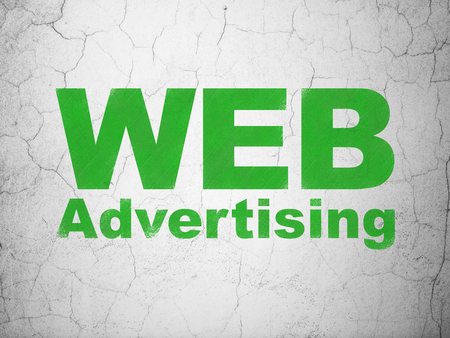 Marketing concept: Green WEB Advertising on textured concrete wall background